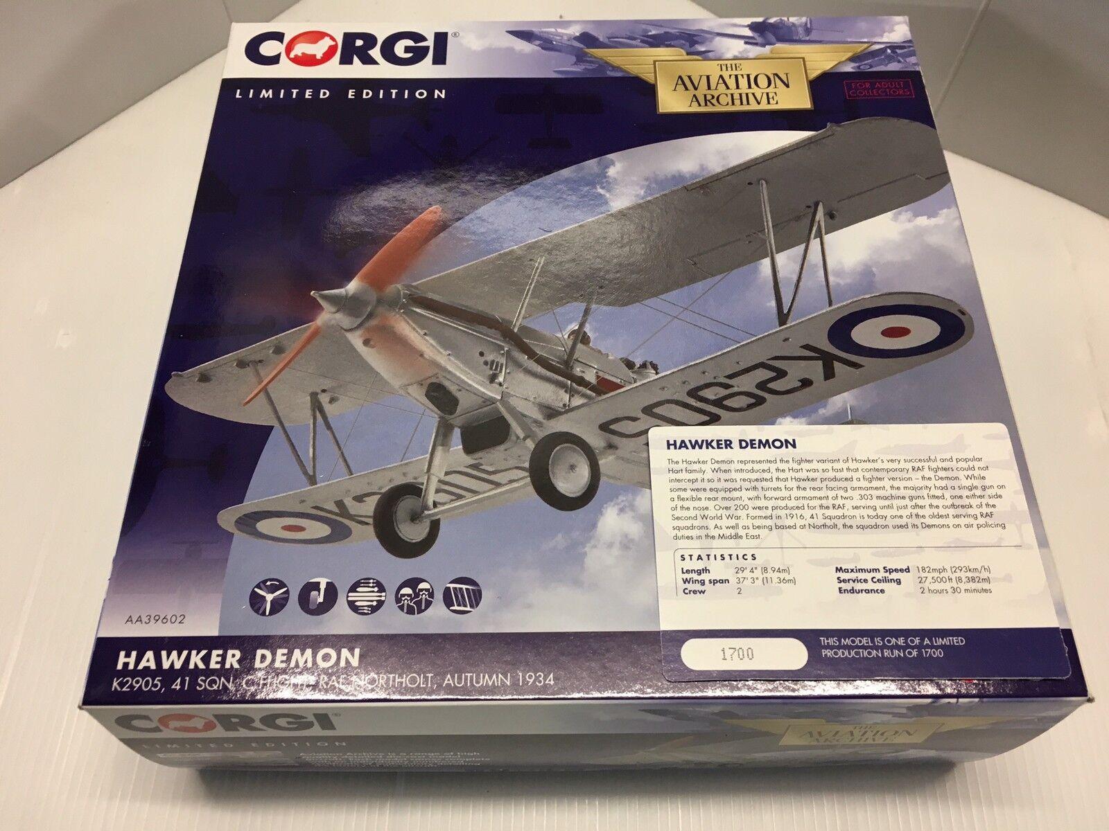 CORGI AA39602 HAWKER DEMON K2905 41 Sqn RAF Northolt ltd edition Nº 1700 de 1700