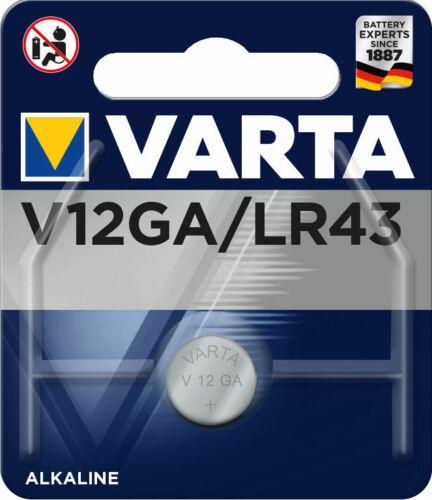 5 x Varta Alkaline V12GA LR43 AG12 12GA 186 Knopfzelle 120mAh Batterie