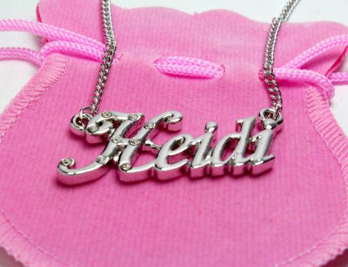 "Necklace With Name /""Heidi/"" 18K Gold PlatedPersonalised Czech Rhinestones"