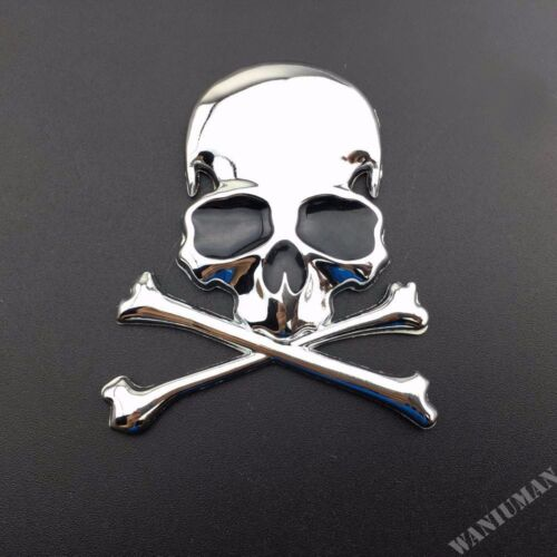 3D Metal Skull Emblem Car Motorcycle Badge Decal Sticker Trunk Fender