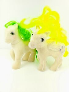 VTG My Little Pony Figure G1 So Soft Lofty Flocked Fuzzy Yellow Balloons Lot x2