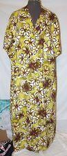 "Womens Sag Harbor dress SUNDRESS green brown PLUS 24W chest 58"" linen floral"