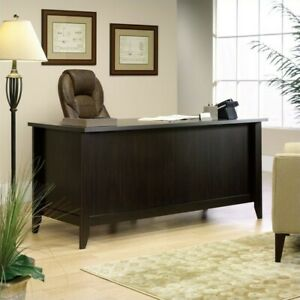 Details About Sauder Shoal Creek Executive Desk In Jamocha Wood
