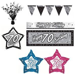 NEGRO-Y-PLATEADO-70-anos-Happy-70th-Birthday-ART-CULOS-FIESTA-Decoracion-Vajilla
