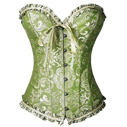 FeelinGirl Women/'s Satin Sweetheart Overbust Bridal Waist Cincher Corset mint XL