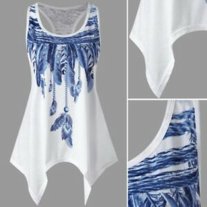 Mujer-Blusa-Sin-Mangas-Panel-de-encaje-Asimetrico-Pluma-Informal-Camisetas
