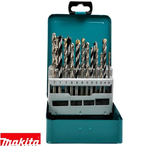 Makita D-47173 18 piezas mixtas Drill Bit Set Madera Metal en Caja De Metal