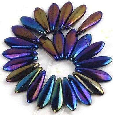 25 Czech Glass Dagger Beads - Iris - Blue  16mm