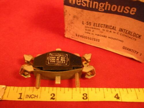 Westinghouse L-55 Electrical Interlock L-53-4-5 Starter Size 2 600VAC 230VDC New