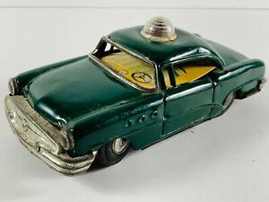 Vintage Tin Linemar Japan Marusan Green Police car UNUSUAL ...