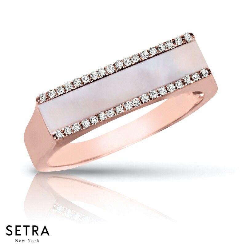 Bar Diamond & Pearl pink 14k gold