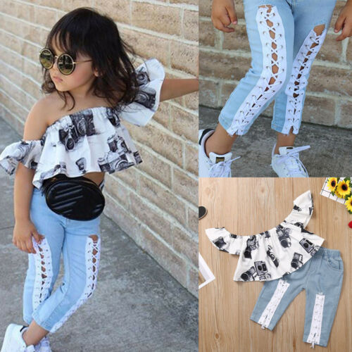Fashion 2PCS Children Kids Baby Girl Off Shoulder Top Tee+Jeans Pants Outfit Set