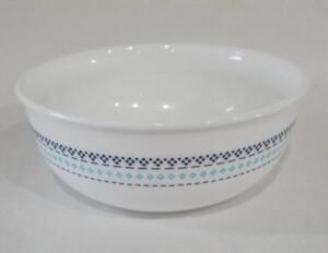 1 Corelle Folk Stitch 16 Oz Soup Cereal Salad Bowl Aqua Blue Bohemian Nouveau Ebay