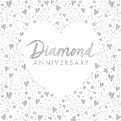 Pack of 16 Diamond Anniversary Lunch Napkins 3 ply Foil Stamped Party Tableware