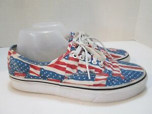 a234745763a Vans Off the Wall Authentic American Flag Red White Blue Shoes Mens ...