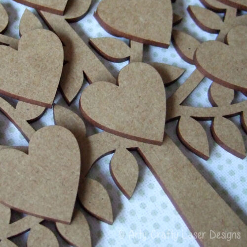 Wooden MDF Family Tree with Cat Dog Pets Craft Blank Laser Cut 12 Hearts