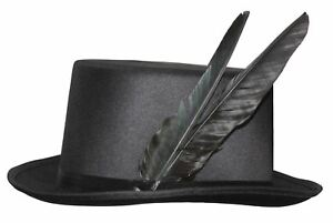 Black-Raven-Feathered-Witch-Doctor-Top-Hat-Steampunk-Fancy-Dress