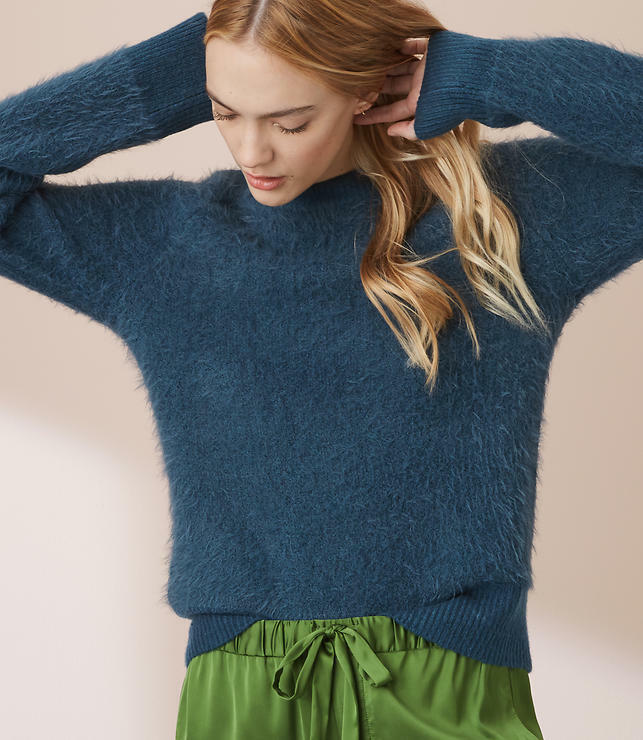 Ann Taylor LOFT Lou & Grey bluee Ribtrim Super Soft Eyelash Sweater Size XL - NEW