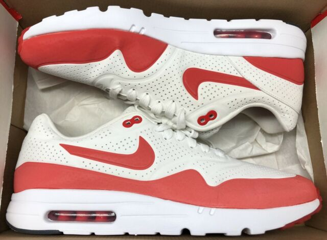 NIKE AIR MAX 1 ULTRA MOIRE SUMMIT WHITE CHALLENGE RED 705297 106 Sz 12