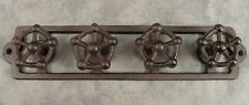 INDUSTRIAL FAUCET VALVE KNOB HANDLES Cast Iron 4 HOOK WALL RACK ~Antiqued Brown~