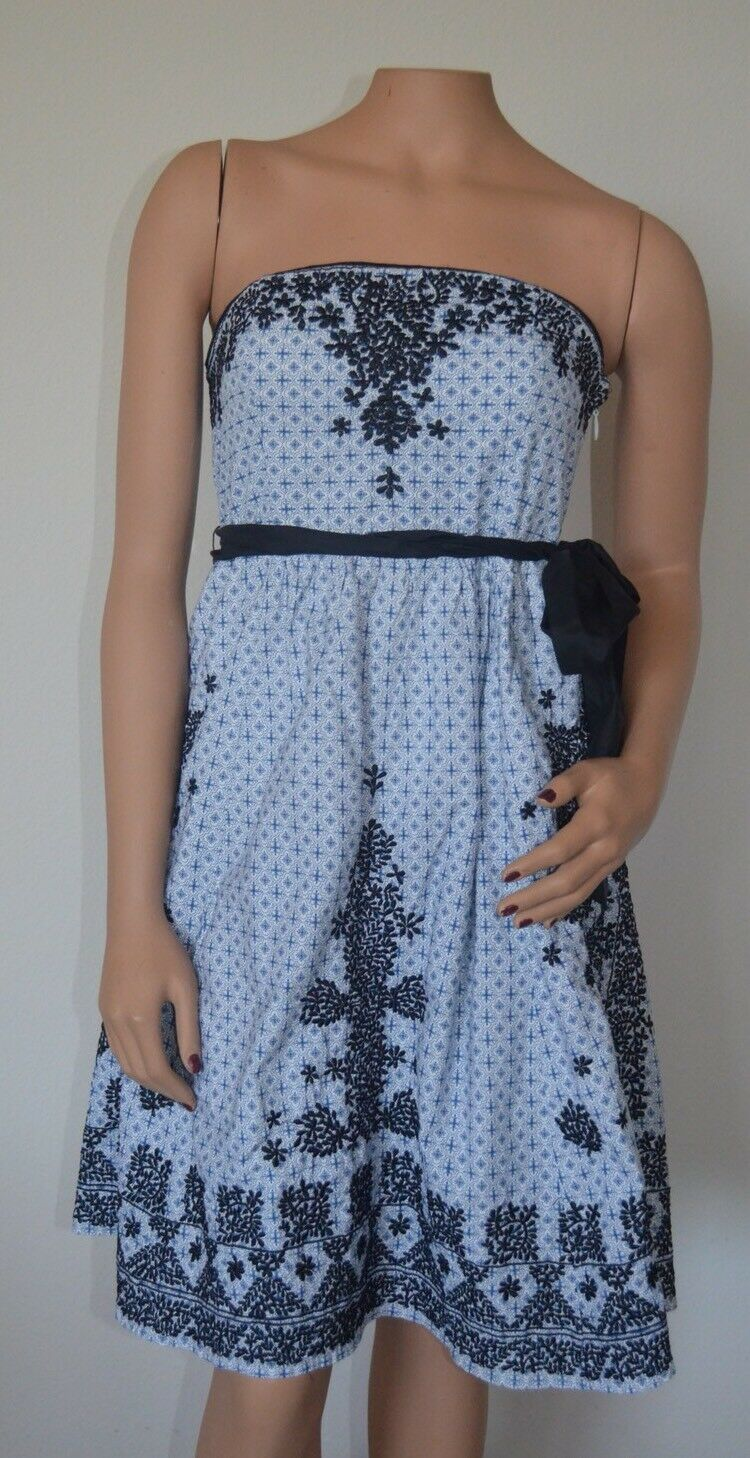 bdc67d8c2101 Soeurs Anthropologie bluee Embroidered Strapless Dress Sz 4 ...
