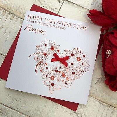 Boyfriend Fiance Personalised /& Hand Made Kraft Valentines Day Card Husband