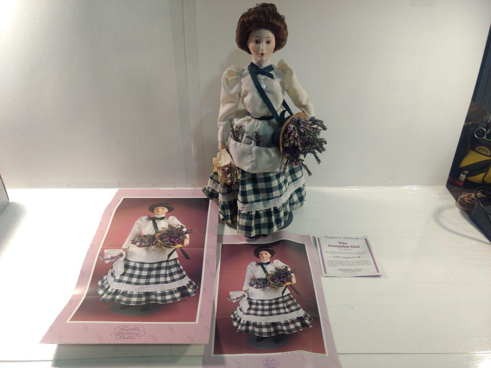 Franklin Mint Heirloom Dolls The Lavender Girl Bisque Porcelain ds1324