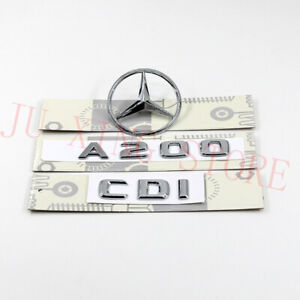 "W176 Chrome Trunk Emblem Decal Badge ""A200+CDI+LOGO"" for Mercedes-Benz A Class"