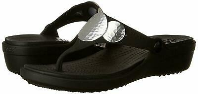 CROCS Women/'s Sanrah Embellished Wedge Flip Sandals Black Silver Metallic