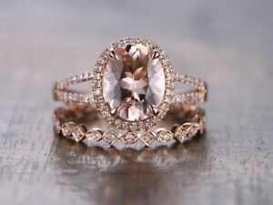 25Ct Morganite Engagement Ring Diamond Wedding Band Bridal Set 14K