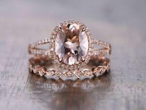 2-5Ct-Morganite-Engagement-Ring-Diamond-Wedding-Band-Bridal-Set-14K-Rose-Gold-Fn