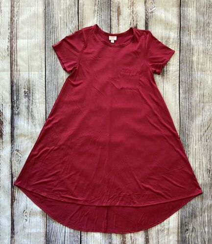 LuLaRoe Solid Raspberry Pink Red M Carly Dress