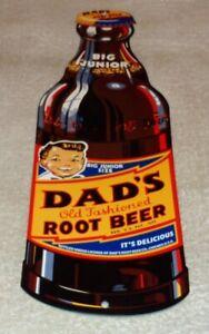 VINTAGE-DAD-039-S-ROOT-BEER-BIG-JUNIOR-SIZE-BOTTLE-15-034-METAL-SODA-POP-GAS-amp-OIL-SIGN