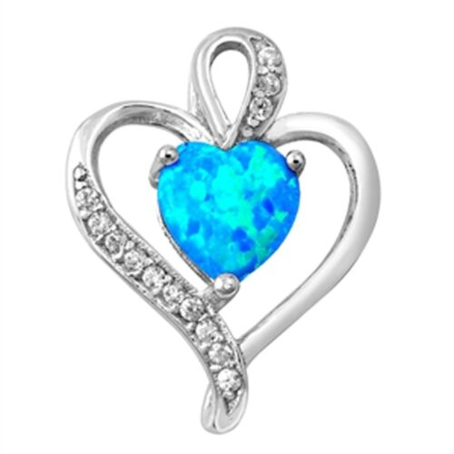 Double Heart in Blue Opal with CZ .925 Sterling Silver Pendant
