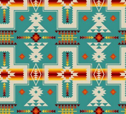 Patchwork Dekostoff Gardinenstoff Navajo Indianer Santa Fe Türkis lfm Baumwolle