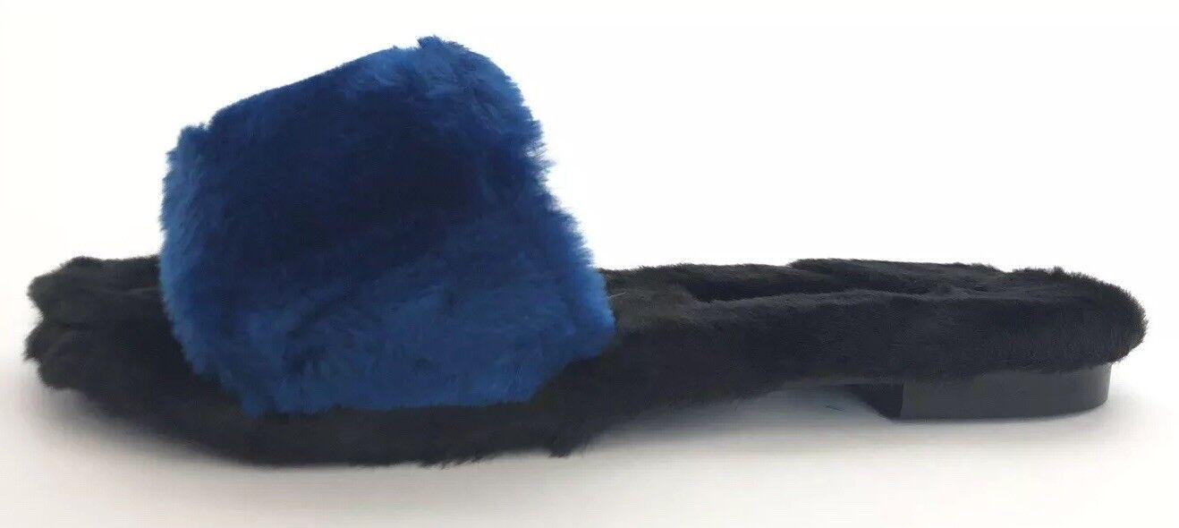 Avec Moderation donna scarpe Dimensione 39 NIB nero&blu Fur Flip Flops