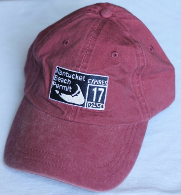 check out c2e37 9874d NANTUCKET BEACH PERMIT HAT CAP Fahrenheit Headwear OSFA Red  NEW