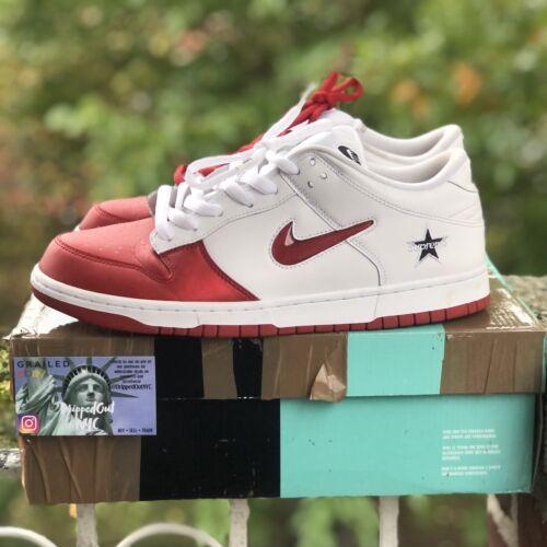 "Nike SB Dunk Low Supreme ""Jewel Swoosh Red"" Size 1"