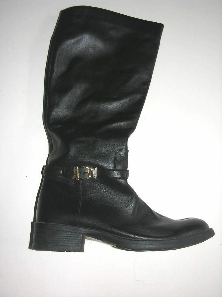Black Leather Riding, Equestrian Boots sz 38/8 by Staccato  low heel