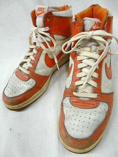 NIKE Team Convention Sneakers Vintage Vintage Vintage 80's Rare orange White Size 11 8c9601