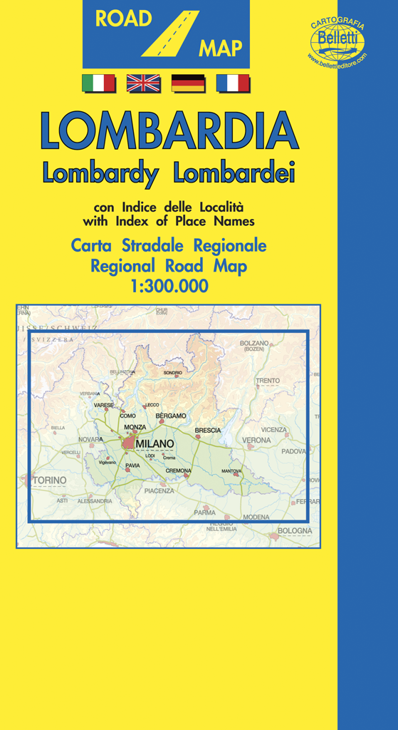 Cartina Lombardia Pavia.Lombardia Cartina Stradale Regionale Scala 1 300 000 Carta Mappa Belletti Ebay