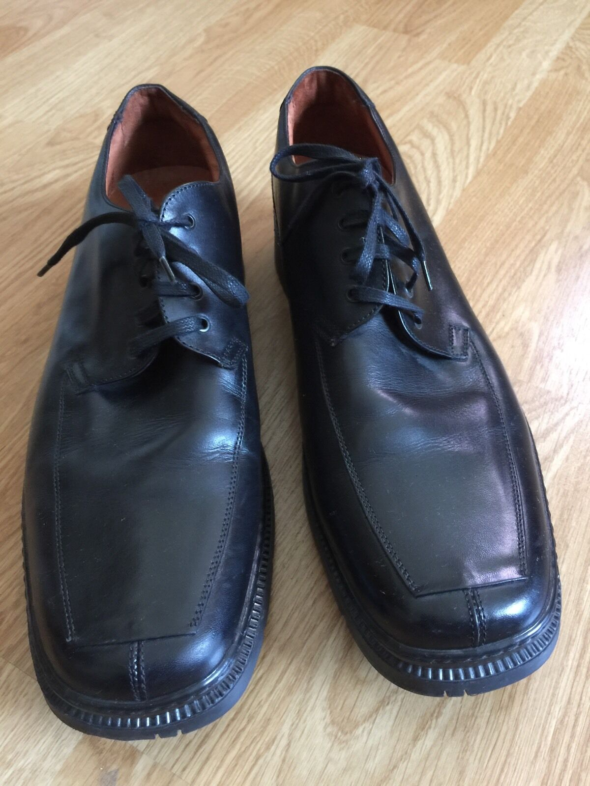Johnston & Murphy Italy Men's 12M Black Leather Oxford Casual Dress Shoes