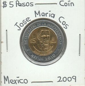 Mexico-5-Pesos-Coin-JOSE-MARIA-COS-Year-2009