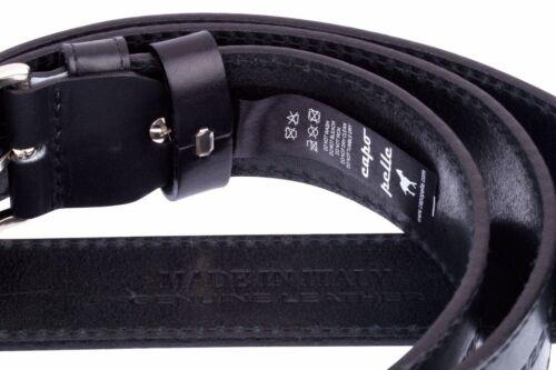 Men/'s Genuine leather Cowhide belt Capo Pelle Black embossed belts
