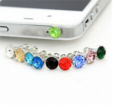 Stylish 10x3.5mm Crystal Anti Dust Cap Earphone Jack Plug Stopper For Cell Phone