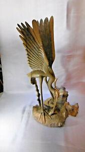 grande sculpture oiseau aigrette en bois