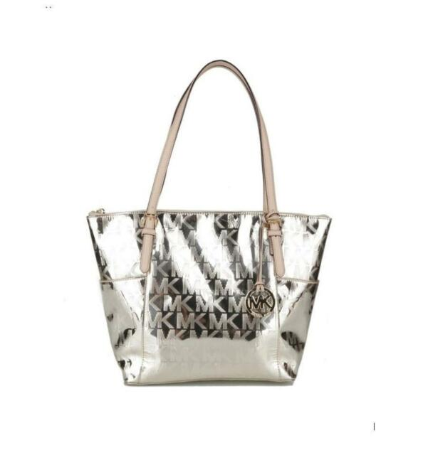 804094a19efa Michael Kors Jet Set East West Mirror Pale Gold Metallic Patent Leather Tote  NWT