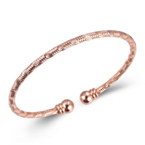 Romantique Femmes plaqué or rose Cuff Bangle Bracelet Bijoux Taille 60 mm