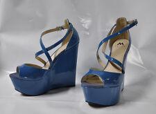 """Shoedazzle """"Maren"""" Teal hi wedge heel strappy sandal - Size 11, 6.5"""" heel - New"""