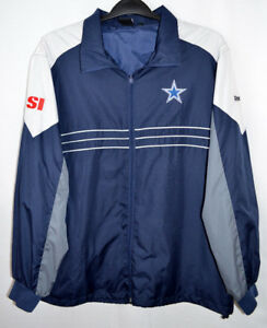 newest collection c6fa7 7ddfe Details about NFL Team Apparel Dallas Cowboys SI Reebok Windbreaker Jacket  Blue Zip-Up Mens XL